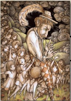"""Adam Oehlers  """"The Piper"""" ( interpretation of The Pied Piper, for the publication Fixionaria Historias Ilustradas  Cap. 10, 2013)  watercolour and pen on paper     35.5cm x 23.5cm http://www.adamoehlers.com/illustrations.php"""