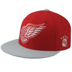 Mitchell   Ness Detroit Red Wings Vintage XL Logo Two-Tone Fitted Hat - Red  Gray eb2be04ab