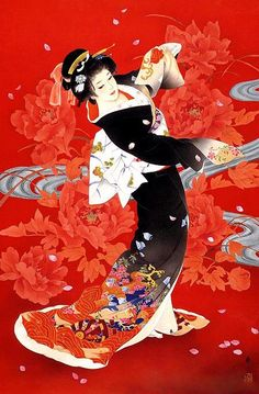 Japanese Woman with Flowers | Tattoo Ideas  Inspiration - Japanese Art | Haruyo Morita