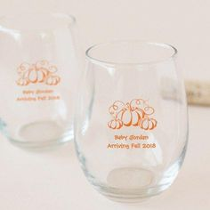 Toast the expectant mommy with personalized baby shower stemless wine glasses! Customize it with one of our unique designs for a favor guests will love. Personalized Wine Glasses, Personalized Baby, Wine Glass Rack, Baby Shower Fall, Stemless Wine Glasses, Baby In Pumpkin, New Baby Products, Pumpkins, Shower Ideas