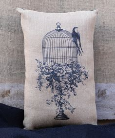 Loving this Birds on a Cage Throw Pillow on #zulily! #zulilyfinds