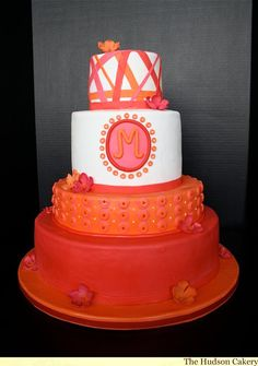 Red and orange couture wedding cake - not a fan of the entire cake itself but love the colors! i like bottom color and top tier the best.