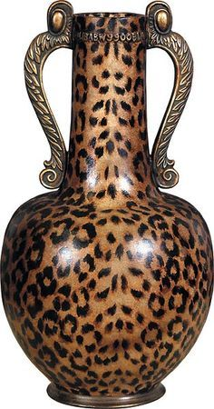 This impressive ceramic vase is hand finished in a leopard print motif in stunning detail. Burnished gold handles perfectly accent the animal motif on this large vase that can easily be a standout piece in the home. Animal Print Furniture, Animal Print Decor, Animal Print Fashion, Animal Prints, Motif Leopard, Cheetah Print, Leopard Prints, Leopard Decor, Leopard Wall
