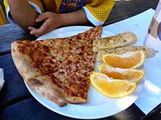 #berkeley #oakland #albany Pizza Lanesplitters: I'm cutting right to the chase: For $25, five of us ate pizza. The two adults had salads; the three kids — a five year old and two nearly-eight-year olds — had fruit slices and garlic bread sticks. My husband drank a pint. I was delighted by the value.
