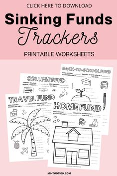 Sinking funds tracker printable to track and organize your sinking funds. Here's a list of the top sinking funds categories that you need in your budget. Sinking funds can be a great way to save money without having to dip in your emergency fund or go into debt. Sinking funds template. Printable Worksheets, Printables, Sinking Funds, Life On A Budget, Debt Free Living, College Fund, Paying Off Student Loans, Down Payment, Create A Budget