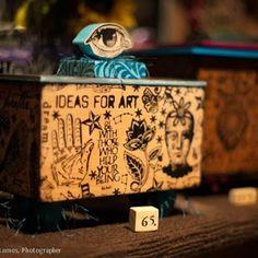 Handmade cherry box we make and I stamp.