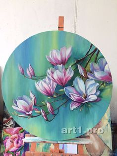 Small Canvas Art, Diy Canvas Art, Circle Painting, Poster Color Painting, Watercolor Paintings, Flower Paintings On Canvas, Acrylic Art, Flower Art, Art Projects