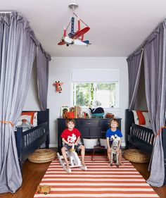 The owner of this New York house found the light fixture, crafted from a retrofitted model airplane, on Etsy. Land of Nod makes the crocodile and zebra—big enough to ride! Bright idea: Forget makeshift forts: Curtains hung from Ikea track rails guarantee full-time fun.