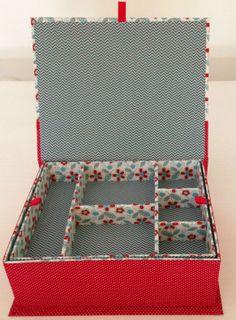 Porta-joia floral vermelho e azul - aberto