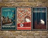 HARRY POTTER Set of 3 Travel Poster Vintage Harry Potter Print Geekery Wall Art House Warming Gift Children Room Decor Harry Potter Bathroom, Décoration Harry Potter, Retro Poster, Poster Vintage, Styles Harry, Goals Tumblr, Vintage Travel Posters, My New Room, Halloween