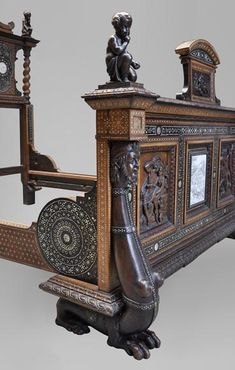 to) - Rare Neo-Renaissance style bed made out of carved walnut and ebony veneer with ivory inlays - Available on website Rococo Furniture, Vintage Furniture, Furniture Design, Antique Mantel, Antique Beds, Coral Springs, Renaissance Fashion, Fireplace Accessories, Bed Styling