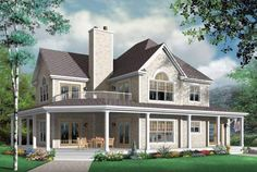 house with wrap around porch and a balcony up top. My future house needs to have a wrap around porch or top balcony with enough room for furniture! Farmhouse Plans, Farmhouse Design, Farmhouse Style, Farmhouse Layout, Farmhouse Front, Rustic Farmhouse, Farmhouse Bedrooms, American Farmhouse, Farmhouse Office