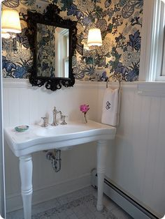 powder room, high paneling to hide water splashes that show up on paint!