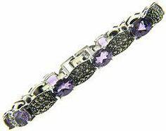 Sterling Silver Marcasite Genuine Amethyst Bubble Links Bracelet LEAH HANNA. $49.99