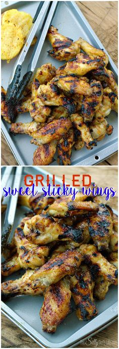 Grilled Sweet Sticky Wings, lots of garlic, brown sugar, lemon and herbs combine for the BEST wings marinade recipe... EVER! - ThisSillyGirlsLife.com #ChickenWings #ChickenMarinade