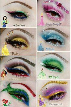 kinderschminken Disney impressed make-up. Disney Eye Makeup, Disney Inspired Makeup, Belle Makeup, Disney Princess Makeup, Disney Character Makeup, Tinkerbell Makeup, Disney Villains Makeup, Cinderella Makeup, Ariel Makeup