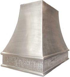 custom vent hood - kitchen range hood hood - island hood made from aluminum shown