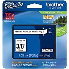 Brother TZE-221 9 mm Laminated Letter Tape - Black on White