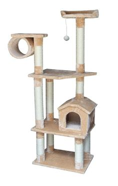 Cat Tree Furniture with House, Tube and Two Perches, Beige Plush - I Heart My Cats Large Cat Tree, Cat Empire, Cat Brain, Diy Cat Tree, Cat Activity, Tree Furniture, Luxury Furniture, Cat Condo, Cat Memorial