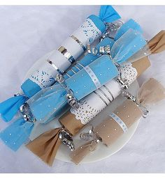Party favors made from recycled toilet paper rolls.