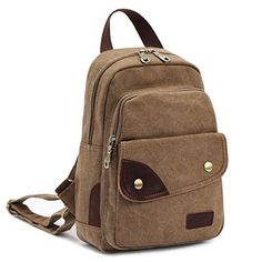 CLELO B495 Vintage Small Canvas Sling Rucksack Backpack Ipad Bag Brown >>> Visit the image link more details. (Note:Amazon affiliate link)