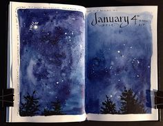 "From Stillman Birn on FB WINTER STARLIGHT - Jean Mackay ""One of the things I like best about keeping an artist journal is capturing a singular moment or experience and holding it between the pages or sharing it with the wider world."""