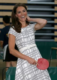 Kate is amused as she plays table tennis while visiting Bacon's College on July 2012 in London, England. Prince Harry, Prince William and Kate launched the 'Coach Core' Programme, a partnership between their Foundation and Greenhouse. Queen Kate, Princess Kate, Princess Charlotte, Duchess Kate, Duke And Duchess, Duchess Of Cambridge, William Kate, Prince William, Martin Luther King