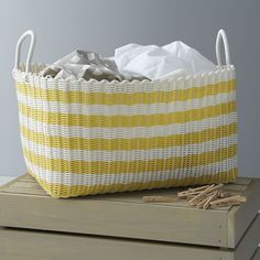 Yellow-White Stripe Laundry Hamper by Crate & Barrel - Found on HeartThis.com @HeartThis   See item http://www.heartthis.com/product/452468229147958347?cid=pinterest