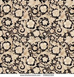 Vintage classic ornamental seamless vector pattern in baroque style. Stylized beige flowers, curls and leaves with a gold outline on a black background. Renaissance.