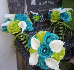 17 Piece Silk Malibu Blue Lime Green Rosess Real Touch White Calla Lily Wedding Set