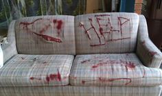 Found this old love seat at the side of the road. Then sliced it up, and added some blood.