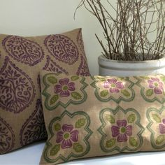 Medieval Rose hand printed home decor linen pillow by giardino, $42.00
