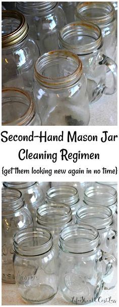 Second Hand Mason Jar Cleaning Regimen - Life Should Cost Less Household Cleaning Tips, Cleaning Recipes, House Cleaning Tips, Cleaning Hacks, Staining Mason Jars, Painted Mason Jars, Mason Jar Diy, Clean Prep, Hard Water Stains