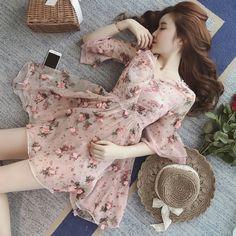 Buy Munai Ruffled Floral A-Line Dress Korean Fashion Dress, Korean Dress, Ulzzang Fashion, Korean Outfits, Asian Fashion, Fashion Dresses, Kawaii Dress, Kawaii Clothes, Dress Outfits