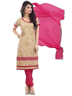 120d50421c Suchi Fashion Heavy Embroidery Beige and Pink Chanderi Cotton Salwar Suit  Dress Material Salwar Suits Online