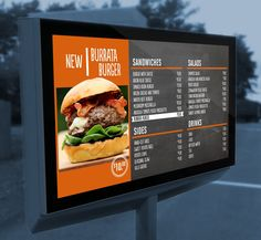 Image result for Drive thru menu boards for restaurants Digital Menu Boards, Digital Signage, Food Photography, Restaurants, Sandwiches, Signs, Ethnic Recipes, Image, Modern Kitchens