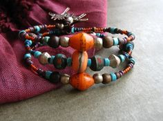 Earthy Tribal Boho Memory wire wrap stacking by BeYouBeautiful