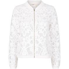 Maje Blow Lace Bomber Jacket ($300) ❤ liked on Polyvore featuring outerwear, jackets, summer bomber jacket, white jacket, lace jacket, blouson jacket and bomber jackets