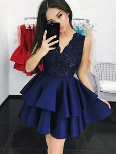 Blue Party Dress Navy Blue Homecoming Dresses Homecoming Dresses V Neck Party Dress Party Dress Lace Homecoming Dresses 2019 Navy Blue Homecoming Dress, Navy Blue Short Dress, Cheap Homecoming Dresses, Prom Dresses Blue, Sexy Dresses, Evening Dresses, Short Dresses, Dresses With Sleeves, Blue Lace