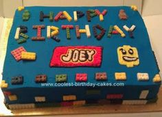 Homemade Lego Birthday Cake: I made a basic rectangle cake and frosted with my son's favorite Lego brick color. I created my own Lego molds using a mold putty available at the craft