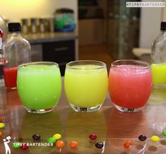 Skittles Slushie Cocktail - For more delicious recipes and drinks, visit us here: www.tipsybartender.com