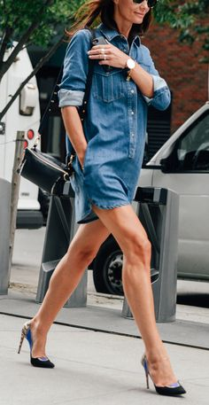 A denim take on the shirt dress.