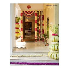 Elegant entrance décor by Marriage colors- Chennai. Desi Wedding Decor, Home Wedding Decorations, Diwali Decorations, Thali Decoration Ideas, Stage Decorations, Wedding Gifts, Chennai, Door Flower Decoration, Flower Decorations
