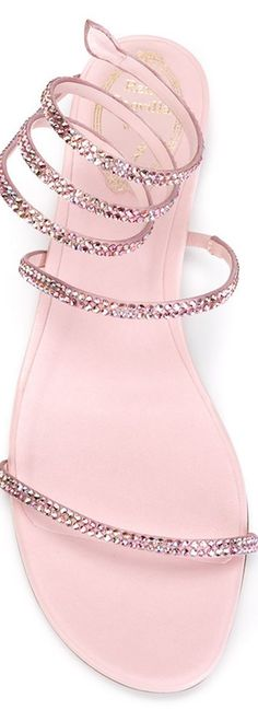 RENE CAOVILLA Crystal Embellished Sandals in Rose