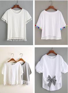 Come trasformare una T shirt banale in una molto chic Diy Clothes Refashion, Shirt Refashion, T Shirt Diy, Diy Clothing, Sewing Clothes, Diy Fashion, Fashion Outfits, Fashion Tips, Techniques Couture