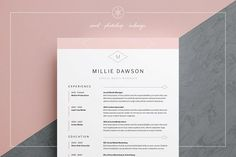 Resume / CV Template - Millie Welcome to Keke Resume Boutique! Our templates are created to the highest standard of modern design and editability. They are the stepping stone on your way to your dream… Cover Letter Template, Template Cv, Resume Templates, Design Templates, Cover Letters, Letter Templates, Resume Cv, Resume Design, Cv Design