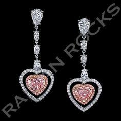 GIA Cert Pink Diamonds Two Color Gold Heart Shape Dangling Earrings 1 Ear Jewelry, I Love Jewelry, Jewellery, Bridal Earrings, Bridal Jewelry, Pink Diamond Earrings, Heart Shaped Earrings, Bridesmaid Jewelry, Ideias Fashion