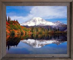 Mount Rainier Lake Reflection With Snow Mountain Scenery Landscape Barnwood Framed Picture Art Print (19x23)