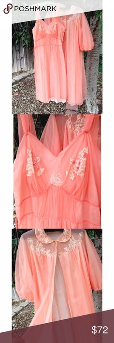 """FINAL PRICEVintage 1950s Peach Nightgown Set Absolutely gorgeous! True 1950s vintage This is a beautiful peach color. 100% Nylon. The cover up has the classic 50s round collar, with the matching cream flowed lace and has the puff sleeves. The night gown has the flower lace on the breast, empire waist and a nice flow at the bottom. This set is in AMAZING vintage condition! No flaws from what I can see thecover up is open, so can fit most/any sizes. The night gown.. BUST: 36"""" around- WAIST…"""