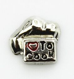 LOVE TO COOK Floating Locket Charm at www.showyourcharm.com If your love to cook this recipe for happiness belongs on your jewelry charm collection. Choose more food related charms to express yourself inside your floating locket.